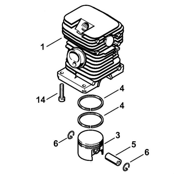 Цилиндр с поршнем (поршневая) 34мм Stihl для мотокосы FS 56 (41440201200)
